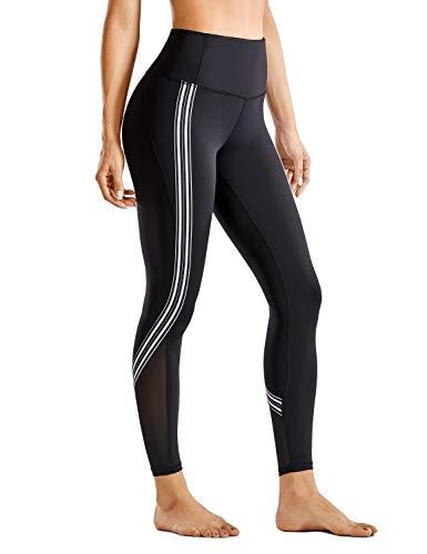 CRZ YOGA Mujer Leggings a Raya de Cintura Alta 7/8 Pantalon Yoga Deportivos con Malla- 61cm Negro 40