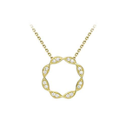 Carissima Gold - Collar ajustable para mujer, oro amarillo de 9 quilates con circonita cúbica, 41 cm a 46 cm