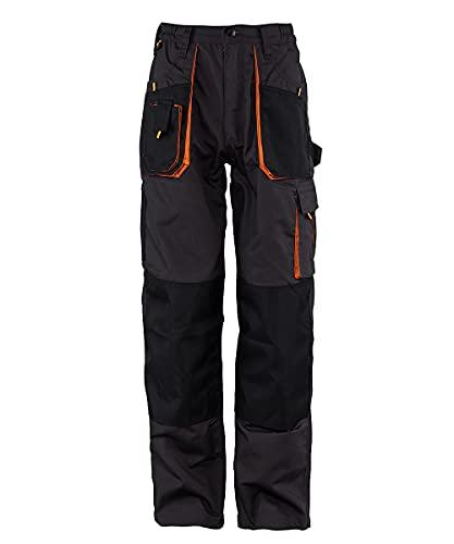 Stenso Emerton - Pantaloni da Lavoro multitasca Extra Resistenti - Uomo - Stile Cargo - Grigio Scuro/Nero/Arancione - 52
