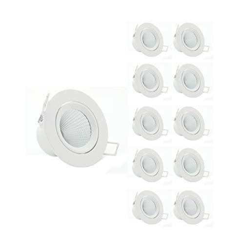 WRMOP (10 stuks inbouw dimbare LED ingebedde plafondspot woonkamer gat licht 3W open gat 3