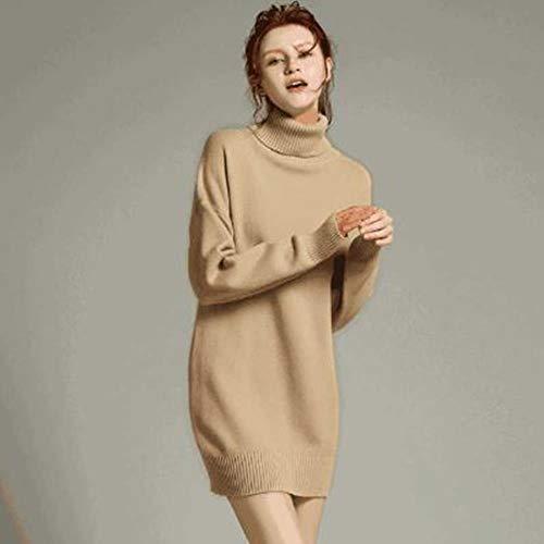 XXYQ truien winter verdikking middelgrote lengte kasjmier trui lady coltrui los effen kleur trui