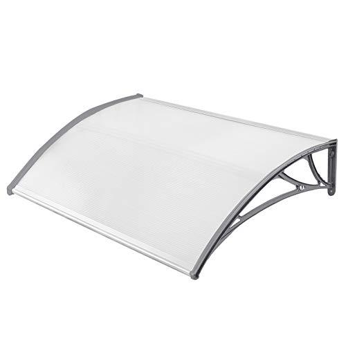 HENGMEI 100x120cm Vordach Haustür Überdachung Haustürvordach Pultvordach Türdach Regenschutz, Transparent Kunststoff, Grau
