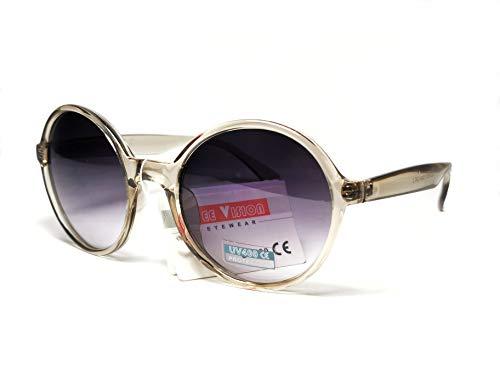 FIKO Occhiali da Sole Donna, Rotondi, Occhiali da Sole Classici, Circle Big, Retro Style, Anni 70, OVERSIZE (TORTORA)