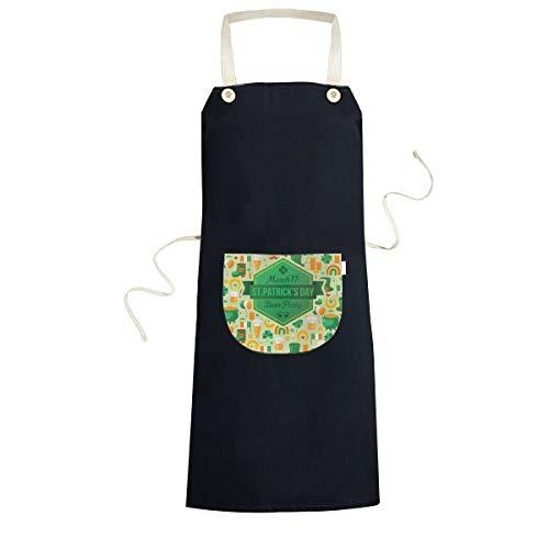 Vier Blad Klaver Bier Vlag Boot Baard Regenboog Ierland St.Patrick's Day Koken Keuken Zwarte Bib Schorten Met Pocket voor Vrouwen Mannen Chef Geschenken