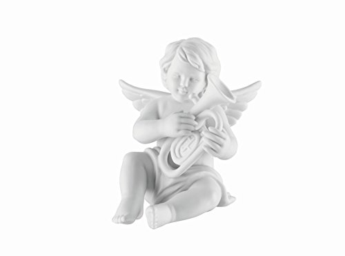 Engel mit Baritonhorn aus Biskuit Porzellan weiß matt in Rosenthal Qualität 6 cm im Geschenkkarton