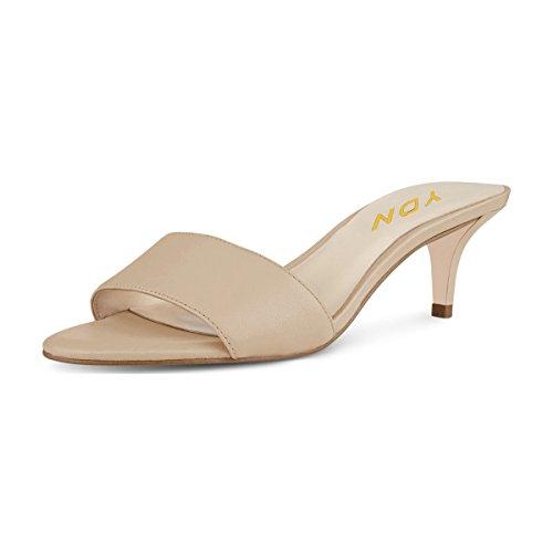YDN Women Comfy Kitten Low Heel Mules Slip on Clog Sandals Open Toe Dress Pumps Slide Shoes Natural 9 (5cm)