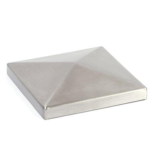 Edelstahl Pyramidenkappen, V2A / 1.4301, geschliffen, Ecken verschweißt, Innenmaß 50 mm x 50 mm, Höhe 10 mm