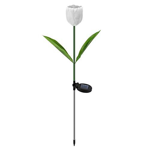 Herefun Luz de Tulipán Solar, Lámpara Solar LED de Tulipán, Resistente al Agua, para Césped de Jardín de Jar (Blanco)