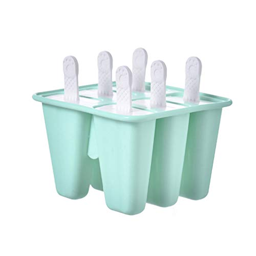 MULIN 6 Grid Food Grade Silicone Ice Popsicle Mold, for Summer, Ideal for Making All Kinds of DIY Ice Food, Smooth and Sleek, Easy to Demold Ice Popsicle Tray Pan Mould Green