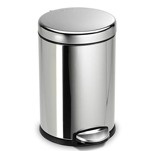 simplehuman 4.5 litre round fingerprint-proof polished stainless steel step can, 4-1/2L