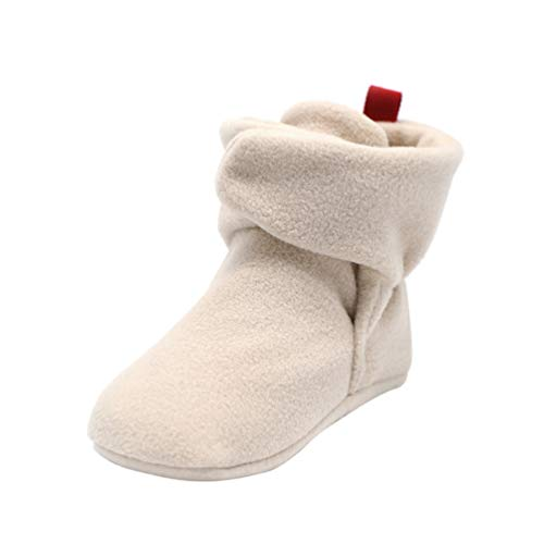 Happyyami Baby Booties with Grippers Baby Anti-Slip Booties for Toddler Infant Light Khaki 11CM 1 Pair