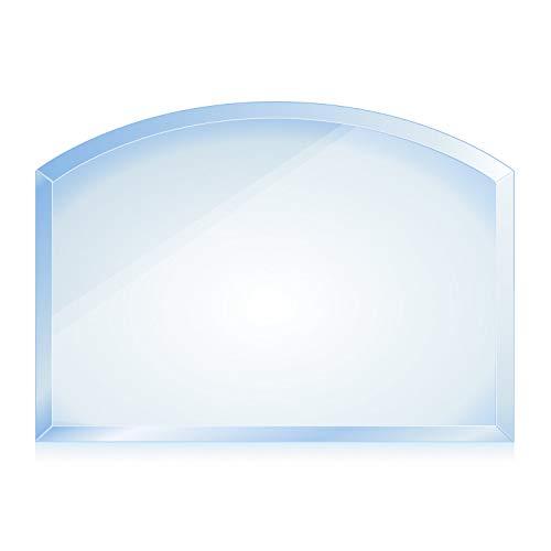 bijon® Funkenschutz-Platte mit Facettenschliff | Glasplatte Kaminofen | Kaminschutz mit ESG Sicherheitsglas | Kamin Glasplatte | Segmentbogen 80 x 100 cm | 8mm