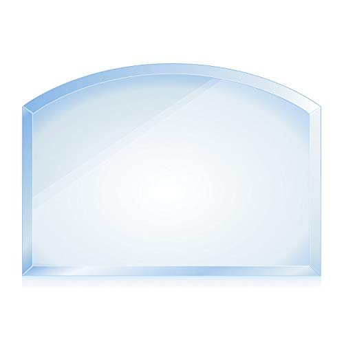 bijon® Funkenschutz-Platte mit Facettenschliff | Glasplatte Kaminofen | Kaminschutz mit ESG Sicherheitsglas | Kamin Glasplatte | Segmentbogen 65 x 100 cm | 8mm