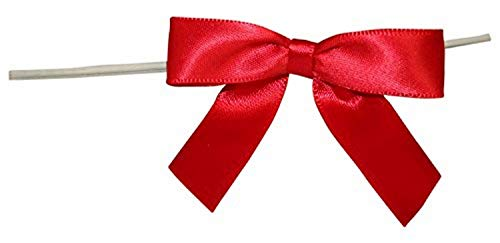 Reliant Ribbon 5171-06503-2X1 Satin Twist Tie Bows - Small Bows, 5/8 Inch X 100 Pieces, Red