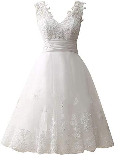CGown Damen A Linie V Ausschnitt Spitze Applique Hochzeitskleider für Braut mit Ärmellos Tüll Kurz Länge Brautkleid Ballkleid Gr. 36, weiß