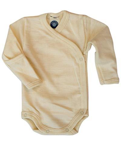 Cosilana, Baby Wickelbody mit Kratzschutz, 70% Wolle (kbT), 30% Seide (Natur, 50/56)