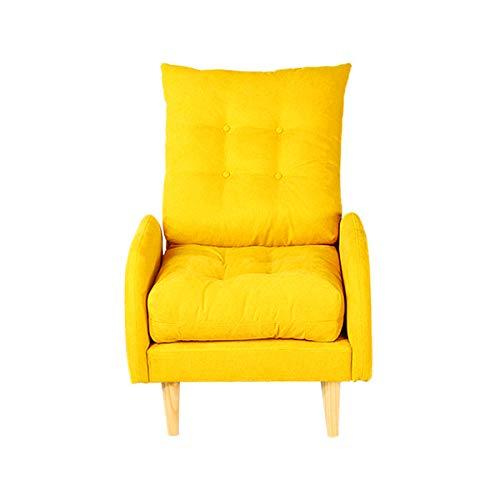 Modernes Folding Fauler Sofa, Stilvolle Couch Betten Lounge Chair,Fußbank Zu Hause Freizeit Sofa Stuhl Schlafzimmer Einzel Stoff Sofa Stuhl,(Color :Gelb)