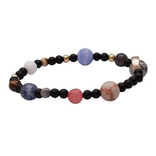 OPAKY Hombres Mujeres Piedra Natural Vía Láctea Beads Yoga Pulsera Brazalete Cuentas de Equilibrio de curacion Chakra Pulsera Pulsera de energia de Yoga Vida Amantes del Arco Iris Joya Informal