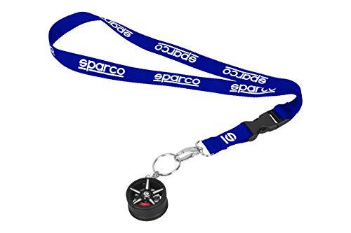 Sparco 6922516327027 Lanyard-ACOLLARDOR Y Llavero LLANTA Azul, 45 cm