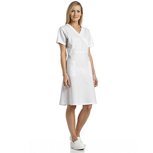 Marvella by White Cross Women's Pleated Mock Wrap Scrub Dress Medium White