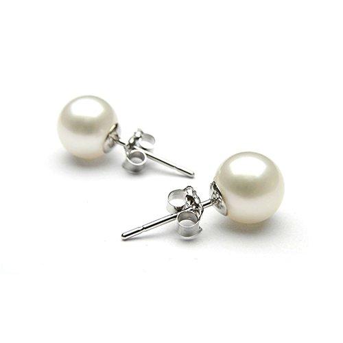 Epoch World Damen Ohrringe Perlen Ohrstecker Schmuck, weiß 925 Sterling Silber - Ohrringe perlen mit echten Perlen