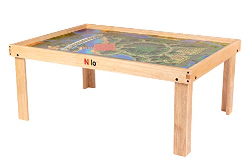 NILO N51NM Kid's Play Table Compatible with Legos, Duplo, Trains, Games, Building, Lincoln Logs Safe Fun for Children Educational Toy Board Durable, Includes Graphic Play Mat (No Holes, 49x33x19)