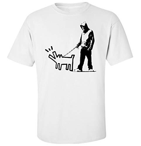 Herren Banksy Graffiti Hund Wandbild T-Shirt Weiß L