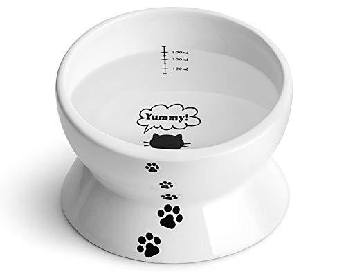 Y YHY Keramik-Futter-/Wassernapf für Katzen, 425 ml, abgeschrägt, Neigungswinkel schützt die Wirbelsäule der Katze, stressfrei, Rückflussverhinderung, Geschenk für Katzen, Katzenschüssel, weiß