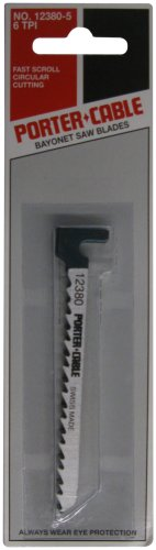 PORTER-CABLE 12380-5 3-1/2-Inch 6 TPI Wood Cutting Hook-Shank Bayonet Saw Blade (5-Pack)