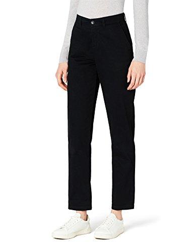 Marchio Amazon - MERAKI Pantalone Slim Fit con Pinces Donna, Nero (Black Beauty: 19-3911 Tcx), 42, Label: S