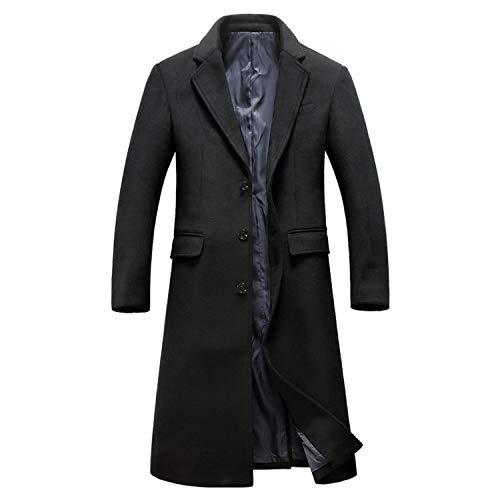 Green HX Heren Wol Lange Jas Winter Plus Size Wol Parka Jas voor Mannen Overjas Casaco Masculino