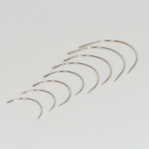 T::A Set: 8 Gebogene Nadeln Polsternadeln Nähnadeln Sattlernadeln rund Leder 35, 40, 50 und 60 mm - Leder nähen Stahl Nadel