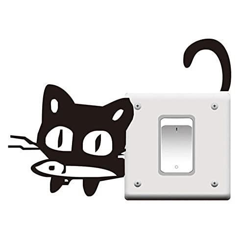 Lindo Gato De Ojos Grandes Comiendo Pescado Gatito Negro Vinilo Pared Pegatina Para Interruptor De Luz Para La Decoración De La Habitación Del Hogar