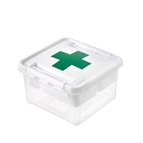 Orthex 3597110 Aufbewahrungssystem, Erste Hilfe Box mit weißem Einsatz, ohne Inhalt, Premium Qualität