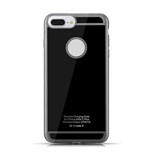 HENGJU Wireless Charging Receiver Case, TPU Shockproof Scratch Protection 5W Back Qi Wireless Charge Cover for i Phone 6 Plus/ 6s Plus/ 7 Plus (Black)