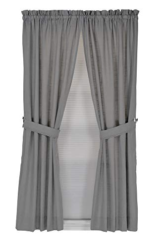 Connemara 72 Inches Wide x 63 Inches Long Linen and Polyester Rod Pocket Curtain Panel Pair, Gray