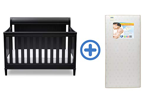 Buy Delta Children New Haven 4-in-1 Convertible Crib, Ebony with Twinkle Stars Crib & Toddler Mattre...