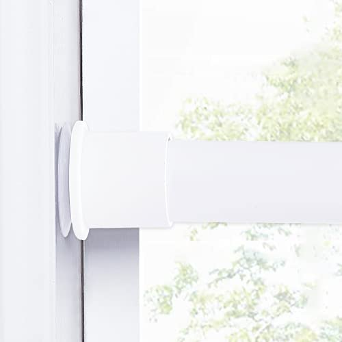 """NICETOWN Room Divider Tension Curtain Rod, Super Large Non-Slip Plate Window Curtain Rod, Rust-Resistance Durable Curtain Rod for Kitchen, Bathroom, Window, Bookshelf DIY Projects, White, 80"""" - 120"""""""