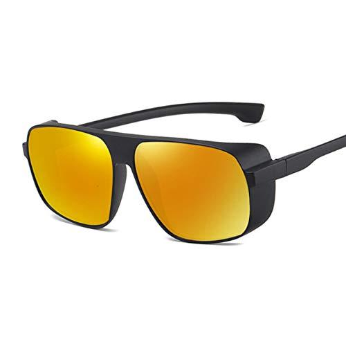 HAOMAO Gafas de Sol Steampunk de Metal Redondas Retro para Hombres y Mujeres Uv400 Blackred