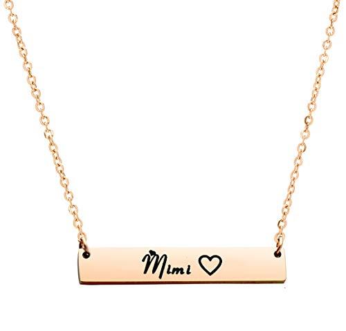 Ankiyabe Grandma Gift Necklace Gigi Mimi Bar Engraved Pendant Necklace Birthday Gifts for Grandma from Grandkid (Mimi--Rose Gold)