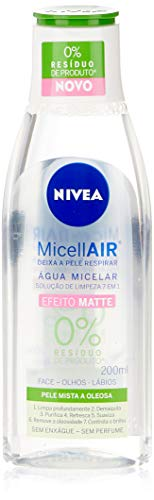 Água Micelar NIVEA MicellAIR Solução de Limpeza 7 em 1 Efeito Matte 200ml, Nivea