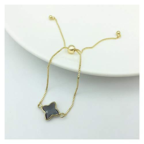 XPWOZ Adjustable Lady Crystal Bracelet Jewelry Valentine's Day Gift (Color : Grey, Size : 24.5cm)