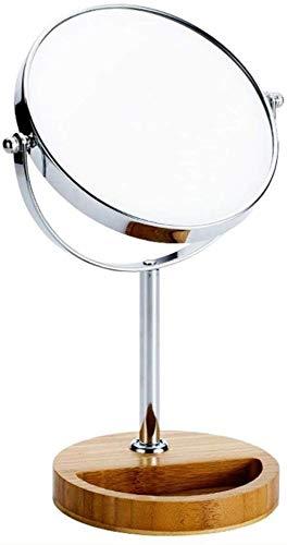 Miroir JT cosmétique Style européen Bambou et Base en Bois de Stockage Table de Maquillage HD de Maquillage Portable Petit et Pratique