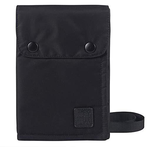 Liberty-Z パスポートケース スキミング防止 首下げ 軽量 防水 大容量 パスポート入れ 小銭ポケット チケットケース クレジットカード カードケース 搭乗券 航空券対応 ナイロン パスポートカバー (ブラック)