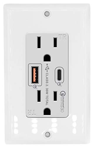 36W USB C & Quick Charge 3.0 USB A Wall Outlet With Dual Plugs Compatible With Samsung, LG, Google, Apple iPhone XS