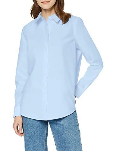 Scotch & Soda Maison Damen Klassisches Regular Fit Hemd, Blau (Sky Blue 0112), Large (Herstellergröße: L)