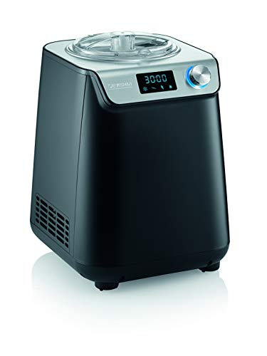 SEVERIN ES 7407 Creme & Joghurtbereiter 2in1 Compact UltraQuick 1,2 Liter Selbstgemachtes Eis Sorbets Joghurt Edelstahl 135W matt schwarz