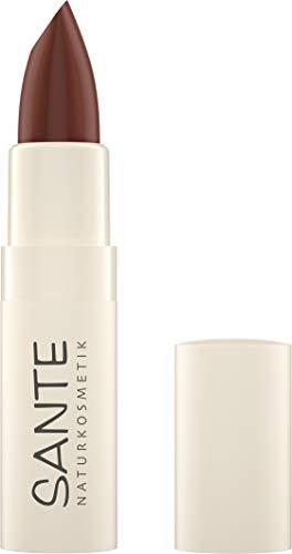 SANTE Naturkosmetik Moisture Lipstick 08 Rich Cacao, Lippenstift, Transparente bis intensive Farben, Mit Hyaluronsäure, Zart pflegend & sanft schützend, 4,5g