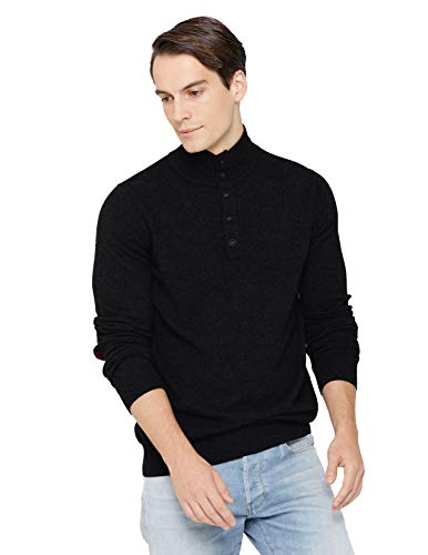 State Cashmere Quarter-Button Mock Neck Sweater 100% Pure Cashmere Long Sleeve Polo Collar Pullover (Large, Black)