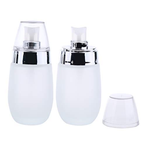sharprepublic Dispenser Di Bottiglie Di Vetro Vuote Da 2 Pezzi × 50 Ml Con Pompa, Erogatore Di Pompa Per Lozione In Gel Bottiglie Di Crema Cosmetica Spray - Argento